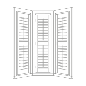 bay window shutter by Tailormade Shutters
